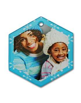 Clear Satin Hexagon Glass Ornament